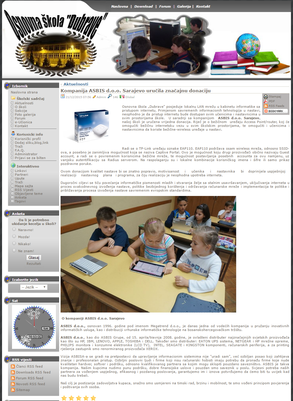 ASBIS makes donation to elementary school in Sarajevo